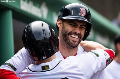 BOSTON, MA - MAY 28: J.D. Martinez #28 of the Boston Red Sox reacts with Brock Holt #12 after hitting a solo home run during the fifth inning of a game against the Toronto Blue Jays on May 28, 2018 at Fenway Park in Boston, Massachusetts. (Photo by Billie Weiss/Boston Red Sox/Getty Images) *** Local Caption *** J.D. Martinez; Brock Holt