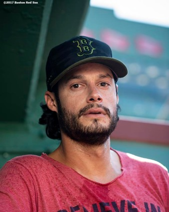 BOSTON, MA - MAY 29: Joe Kelly #56 of the Boston Red Sox poses for a portrait before a game against the Toronto Blue Jays on May 29, 2018 at Fenway Park in Boston, Massachusetts. (Photo by Billie Weiss/Boston Red Sox/Getty Images) *** Local Caption *** Joe Kelly