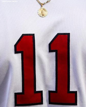 BOSTON, MA - MAY 29: The jersey of Rafael Divers #11 of the Boston Red Sox is shown before a game against the Toronto Blue Jays on May 29, 2018 at Fenway Park in Boston, Massachusetts. (Photo by Billie Weiss/Boston Red Sox/Getty Images) *** Local Caption *** Rafael Devers