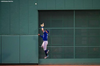 BOSTON, MA - MAY 29: Kevin Pillar #11 of the Toronto Blue Jays makes a leaping catch during the third inning of a game against the Boston Red Sox on May 29, 2018 at Fenway Park in Boston, Massachusetts. (Photo by Billie Weiss/Boston Red Sox/Getty Images) *** Local Caption *** Kevin Pillar