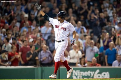BOSTON, MA - MAY 29: Xander Bogaerts #2 of the Boston Red Sox reacts after hitting a solo home run during the seventh inning of a game against the Toronto Blue Jays on May 29, 2018 at Fenway Park in Boston, Massachusetts. (Photo by Billie Weiss/Boston Red Sox/Getty Images) *** Local Caption *** Xander Bogaerts