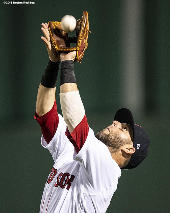 BOSTON, MA - MAY 29: Dustin Pedroia #15 of the Boston Red Sox catches a fly ball during the eighth inning of a game against the Toronto Blue Jays on May 29, 2018 at Fenway Park in Boston, Massachusetts. (Photo by Billie Weiss/Boston Red Sox/Getty Images) *** Local Caption *** Dustin Pedroia