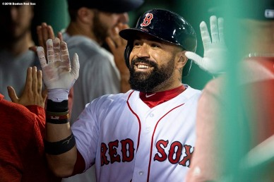 BOSTON, MA - MAY 29: Sandy Leon #3 of the Boston Red Sox high fives teammates after hitting a two run home run during the eighth inning of a game against the Toronto Blue Jays on May 29, 2018 at Fenway Park in Boston, Massachusetts. (Photo by Billie Weiss/Boston Red Sox/Getty Images) *** Local Caption *** Sandy Leon