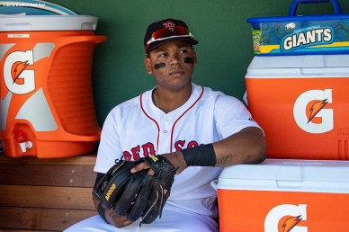 BOSTON, MA - MAY 30: Rafael Devers #11 of the Boston Red Sox looks on before a game against the Toronto Blue Jays on May 30, 2018 at Fenway Park in Boston, Massachusetts. (Photo by Billie Weiss/Boston Red Sox/Getty Images) *** Local Caption *** Rafael Devers