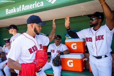 BOSTON, MA - MAY 30: Eduardo Rodriguez #52 high fives Jackie Bradley Jr. #19 of the Boston Red Sox before a game against the Toronto Blue Jays on May 30, 2018 at Fenway Park in Boston, Massachusetts. (Photo by Billie Weiss/Boston Red Sox/Getty Images) *** Local Caption *** Eduardo Rodriguez; Jackie Bradley Jr.