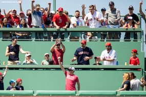 BOSTON, MA - MAY 30: A fan reacts after catching a home run ball hit by Eduardo Nunez #36 of the Boston Red Sox during the fifth a game against the Toronto Blue Jays on May 30, 2018 at Fenway Park in Boston, Massachusetts. (Photo by Billie Weiss/Boston Red Sox/Getty Images) *** Local Caption *** Eduardo Nunez