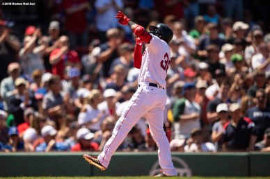 BOSTON, MA - MAY 30: Eduardo Nunez #36 of the Boston Red Sox reacts after hitting a solo home run during the fifth a game against the Toronto Blue Jays on May 30, 2018 at Fenway Park in Boston, Massachusetts. (Photo by Billie Weiss/Boston Red Sox/Getty Images) *** Local Caption *** Eduardo Nunez