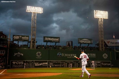 BOSTON, MA - JUNE 5: Andrew Benintendi #16 of the Boston Red Sox walks to the plate as storm clouds roll in during the first inning of a game against the Detroit Tigers on June 5, 2018 at Fenway Park in Boston, Massachusetts. (Photo by Billie Weiss/Boston Red Sox/Getty Images) *** Local Caption *** Andrew Benintendi