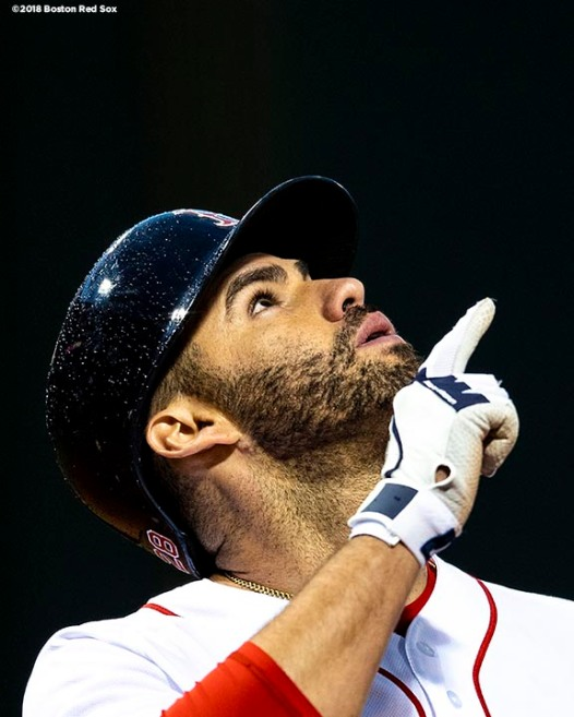 BOSTON, MA - JUNE 5: J.D. Martinez #28 of the Boston Red Sox reacts after hitting a two run home run during the first inning of a game against the Detroit Tigers on June 5, 2018 at Fenway Park in Boston, Massachusetts. (Photo by Billie Weiss/Boston Red Sox/Getty Images) *** Local Caption *** J.D. Martinez