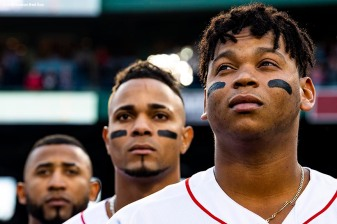 BOSTON, MA - JUNE 5: Rafael Devers #11, Xander Bogaerts #2, and Eduardo Nunez #36 of the Boston Red Sox look on before a game against the Detroit Tigers on June 5, 2018 at Fenway Park in Boston, Massachusetts. (Photo by Billie Weiss/Boston Red Sox/Getty Images) *** Local Caption *** Rafael Devers; Eduardo Nunez; Xander Bogaerts