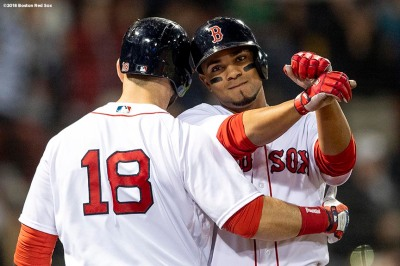 BOSTON, MA - JUNE 5: Xander Bogaerts #2 of the Boston Red Sox reacts with Mitch Morelandafter hitting a solo home run during the fifth inning of a game against the Detroit Tigers on June 5, 2018 at Fenway Park in Boston, Massachusetts. (Photo by Billie Weiss/Boston Red Sox/Getty Images) *** Local Caption *** Xander Bogaerts; Mitch Moreland