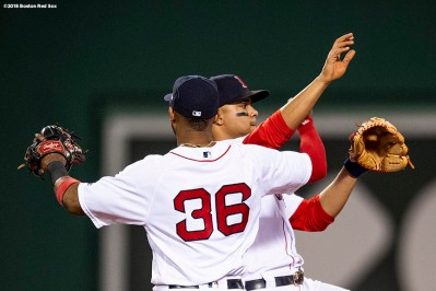 BOSTON, MA - JUNE 5: Xander Bogaerts #12 and Eduardo Nunez #36 of the Boston Red Sox celebrate a victory against the Detroit Tigers on June 5, 2018 at Fenway Park in Boston, Massachusetts. (Photo by Billie Weiss/Boston Red Sox/Getty Images) *** Local Caption *** Xander Bogaerts; Eduardo Nunez