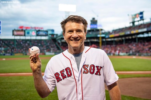 BOSTON, MA - JUNE 5: Robert Herjavec of Shark Tank poses for a photograph after throwing out a ceremonial first pitch during a Jewish Heritage Night pre-game ceremony before a game Between the Boston Red Sox and the Detroit Tigers on June 5, 2018 at Fenway Park in Boston, Massachusetts. (Photo by Billie Weiss/Boston Red Sox/Getty Images) *** Local Caption ***