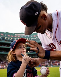 BOSTON, MA - JUNE 5: Xander Bogaerts #2 of the Boston Red Sox signs autographs for kids for Play Ball Week before a game against the Detroit Tigers on June 5, 2018 at Fenway Park in Boston, Massachusetts. (Photo by Billie Weiss/Boston Red Sox/Getty Images) *** Local Caption ***