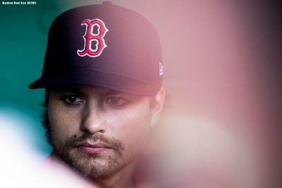BOSTON, MA - JUNE 6: Jalen Beeks #78 of the Boston Red Sox speaks to the media before a game against the Detroit Tigers on June 6, 2018 at Fenway Park in Boston, Massachusetts. (Photo by Billie Weiss/Boston Red Sox/Getty Images) *** Local Caption *** Jalen Beeks