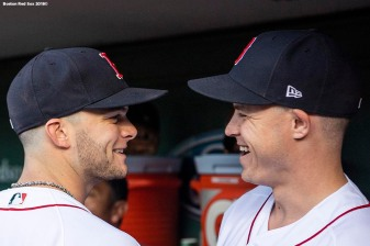 BOSTON, MA - JUNE 6: Andrew Benintendi #16 and Brock Holt #12 of the Boston Red Sox react before a game against the Detroit Tigers on June 6, 2018 at Fenway Park in Boston, Massachusetts. (Photo by Billie Weiss/Boston Red Sox/Getty Images) *** Local Caption *** Brock Holt; Andrew Benintendi