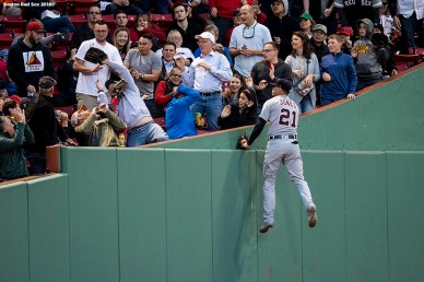 BOSTON, MA - JUNE 6: Jacoby Jones #21 of the Detroit Tigers leaps as he attempts to catch a foul ball during the third inning of a game against the Boston Red Sox on June 6, 2018 at Fenway Park in Boston, Massachusetts. (Photo by Billie Weiss/Boston Red Sox/Getty Images) *** Local Caption *** Jacoby Jones