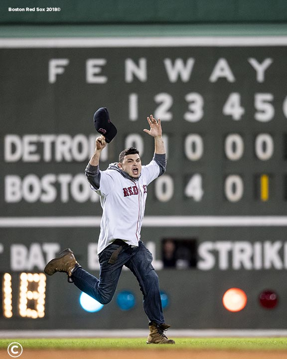 BOSTON, MA - JUNE 6: A fan runs onto the field during the fifth inning of a game between the Boston Red Sox and the Detroit Tigers on June 6, 2018 at Fenway Park in Boston, Massachusetts. (Photo by Billie Weiss/Boston Red Sox/Getty Images) *** Local Caption ***