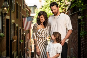 """The Hembree family poses for portraits in the Beacon Hill neighborhood of Boston, Massachusetts."""