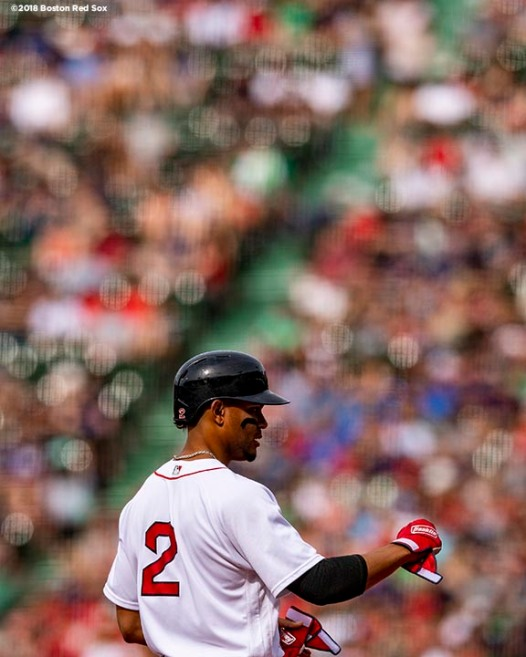 BOSTON, MA - JUNE 9: Xander Bogaerts #2 of the Boston Red Sox reacts after hitting a single during the first inning of a game against the Chicago White Sox on June 9, 2018 at Fenway Park in Boston, Massachusetts. (Photo by Billie Weiss/Boston Red Sox/Getty Images) *** Local Caption *** Xander Bogaerts