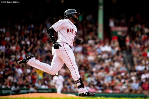 BOSTON, MA - JUNE 9: Jackie Bradley Jr. #19 of the Boston Red Sox rounds the bases after hitting a solo home run during the second inning of a game against the Chicago White Sox on June 9, 2018 at Fenway Park in Boston, Massachusetts. (Photo by Billie Weiss/Boston Red Sox/Getty Images) *** Local Caption *** Jackie Bradley Jr.