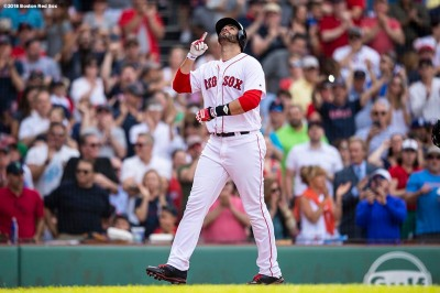 BOSTON, MA - JUNE 9: J.D. Martinez #28 of the Boston Red Sox reacts after hitting a two run home run during the fifth inning of a game against the Chicago White Sox on June 9, 2018 at Fenway Park in Boston, Massachusetts. (Photo by Billie Weiss/Boston Red Sox/Getty Images) *** Local Caption *** J.D. Martinez