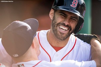 BOSTON, MA - JUNE 9: J.D. Martinez #28 of the Boston Red Sox reacts with Brock Holt #12 after hitting a two run home run during the fifth inning of a game against the Chicago White Sox on June 9, 2018 at Fenway Park in Boston, Massachusetts. (Photo by Billie Weiss/Boston Red Sox/Getty Images) *** Local Caption *** J.D. Martinez; Brock Holt