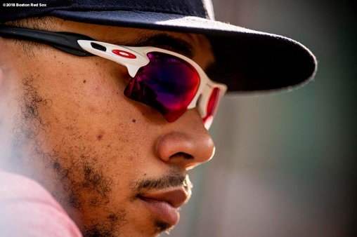 BOSTON, MA - JUNE 9: Mookie Betts #50 of the Boston Red Sox looks on during the seventh inning of a game against the Chicago White Sox on June 9, 2018 at Fenway Park in Boston, Massachusetts. (Photo by Billie Weiss/Boston Red Sox/Getty Images) *** Local Caption *** Mookie Betts