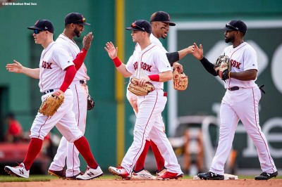 BOSTON, MA - JUNE 9: Members of the Boston Red Sox celebrate a victory against the Chicago White Sox on June 9, 2018 at Fenway Park in Boston, Massachusetts. (Photo by Billie Weiss/Boston Red Sox/Getty Images) *** Local Caption ***