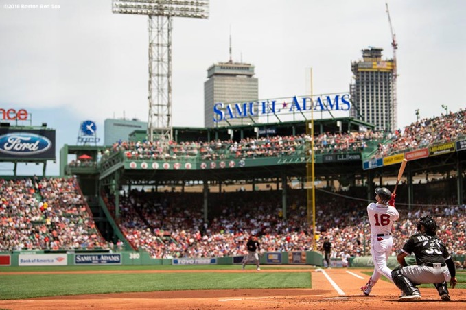 BOSTON, MA - JUNE 10: Andrew Benintendi #16 of the Boston Red Sox bats during the first inning of a game against the Chicago White Sox on June 10, 2018 at Fenway Park in Boston, Massachusetts. (Photo by Billie Weiss/Boston Red Sox/Getty Images) *** Local Caption *** Andrew Benintendi