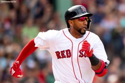 BOSTON, MA - JUNE 10: Eduardo Nunez #36 of the Boston Red Sox runs to first base after hitting an RBI single during the seventh inning of a game against the Chicago White Sox on June 10, 2018 at Fenway Park in Boston, Massachusetts. (Photo by Billie Weiss/Boston Red Sox/Getty Images) *** Local Caption *** Eduardo Nunez