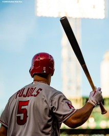 BOSTON, MA - JUNE 26: Albert Pujols #5 of the Los Angeles Angels of Anaheim warms up during the first inning of a game against the Boston Red Sox on June 26, 2018 at Fenway Park in Boston, Massachusetts. (Photo by Billie Weiss/Boston Red Sox/Getty Images) *** Local Caption *** Albert Pujols