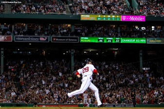 BOSTON, MA - JUNE 26: J.D. Martinez #28 of the Boston Red Sox rounds the bases after hitting a solo home run during the sixth inning of a game against the Los Angeles Angels of Anaheim on June 26, 2018 at Fenway Park in Boston, Massachusetts. (Photo by Billie Weiss/Boston Red Sox/Getty Images) *** Local Caption *** J.D. Martinez