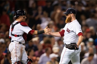 BOSTON, MA - JUNE 28: Craig Kimbrel #46 of the Boston Red Sox reacts with Christian Vazquez #7 after recording the final out during the ninth inning of a game against the Los Angeles Angels of Anaheim on June 28, 2018 at Fenway Park in Boston, Massachusetts. (Photo by Billie Weiss/Boston Red Sox/Getty Images) *** Local Caption *** Craig Kimbrel; Christian Vazquez