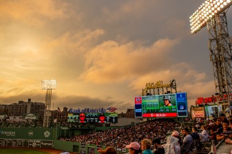BOSTON, MA - JUNE 28: A general view as the sun sets during a game between the Boston Red Sox and the Los Angeles Angels of Anaheim on June 28, 2018 at Fenway Park in Boston, Massachusetts. (Photo by Billie Weiss/Boston Red Sox/Getty Images) *** Local Caption ***