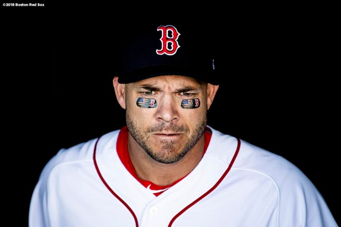 BOSTON, MA - JULY 9: Steve Pearce #25 of the Boston Red Sox looks on before a game against the Texas Rangers on July 9, 2018 at Fenway Park in Boston, Massachusetts. (Photo by Billie Weiss/Boston Red Sox/Getty Images) *** Local Caption *** Steve Pearce