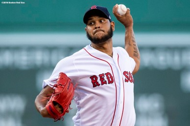 BOSTON, MA - JULY 9: Eduardo Rodriguez #57 of the Boston Red Sox delivers during the first inning of a game against the Texas Rangers on July 9, 2018 at Fenway Park in Boston, Massachusetts. (Photo by Billie Weiss/Boston Red Sox/Getty Images) *** Local Caption *** Eduardo Rodriguez