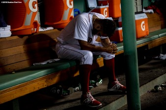 BOSTON, MA - JULY 9: Eduardo Rodriguez #67 of the Boston Red Sox reacts after exiting the game during the sixth inning of a game against the Texas Rangers on July 9, 2018 at Fenway Park in Boston, Massachusetts. (Photo by Billie Weiss/Boston Red Sox/Getty Images) *** Local Caption *** Eduardo Rodriguez