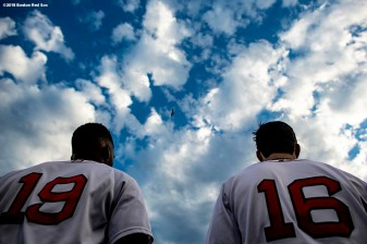BOSTON, MA - JULY 10: Jackie Bradley Jr. #19 and Andrew Benintendi #16 of the Boston Red Sox look on before a game against the Texas Rangers on July 10, 2018 at Fenway Park in Boston, Massachusetts. (Photo by Billie Weiss/Boston Red Sox/Getty Images) *** Local Caption *** Andrew Benintendi; Jackie Bradley Jr.