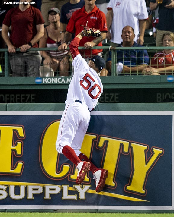 BOSTON, MA - JULY 10: Mookie Betts #50 of the Boston Red Sox leaps over the wall to rob a home run ball during the fifth inning of a game against the Texas Rangers on July 10, 2018 at Fenway Park in Boston, Massachusetts. (Photo by Billie Weiss/Boston Red Sox/Getty Images) *** Local Caption *** Mookie Betts