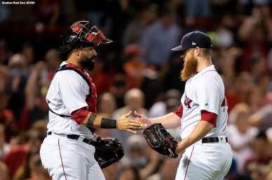 BOSTON, MA - JULY 12: Craig Kimbrel #46 of the Boston Red Sox reacts with Sandy Leon #3 after recording the final out of a game against the Toronto Blue Jays on July 12, 2018 at Fenway Park in Boston, Massachusetts. (Photo by Billie Weiss/Boston Red Sox/Getty Images) *** Local Caption *** Craig Kimbrel; Sandy Leon