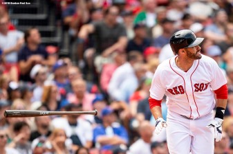 BOSTON, MA - JULY 14: J.D. Martinez #28 of the Boston Red Sox hits a solo home run during the fourth inning of a game against the Toronto Blue Jays on July 14, 2018 at Fenway Park in Boston, Massachusetts. (Photo by Billie Weiss/Boston Red Sox/Getty Images) *** Local Caption *** J.D. Martinez