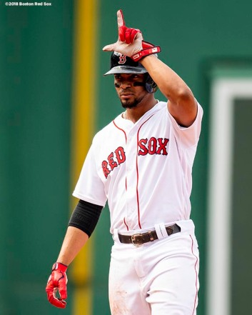 BOSTON, MA - JULY 14: Xander Bogaerts #2 of the Boston Red Sox reacts after hitting a single during the ninth inning of a game against the Toronto Blue Jays on July 14, 2018 at Fenway Park in Boston, Massachusetts. (Photo by Billie Weiss/Boston Red Sox/Getty Images) *** Local Caption *** Xander Bogaerts