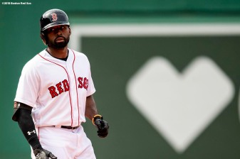 BOSTON, MA - JULY 14: Jackie Bradley Jr. #19 of the Boston Red Sox reacts after hitting a game tying RBI double during the ninth inning of a game against the Toronto Blue Jays on July 14, 2018 at Fenway Park in Boston, Massachusetts. (Photo by Billie Weiss/Boston Red Sox/Getty Images) *** Local Caption *** Jackie Bradley Jr.