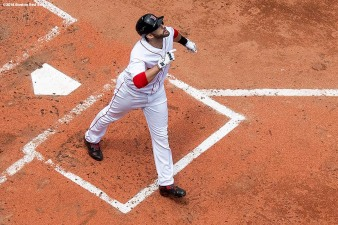 BOSTON, MA - JULY 14: J.D. Martinez #28 of the Boston Red Sox reacts after hitting a solo home run during the fourth inning of a game against the Toronto Blue Jays on July 14, 2018 at Fenway Park in Boston, Massachusetts. (Photo by Billie Weiss/Boston Red Sox/Getty Images) *** Local Caption *** J.D. Martinez