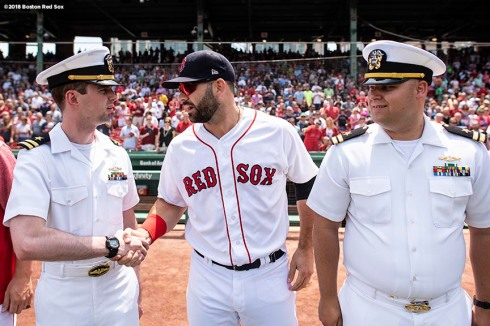 BOSTON, MA - JULY 14: Mitch Moreland #18 of the Boston Red Sox greets members of the Navy before a game against the Toronto Blue Jays on July 14, 2018 at Fenway Park in Boston, Massachusetts. (Photo by Billie Weiss/Boston Red Sox/Getty Images) *** Local Caption *** Mitch Moreland