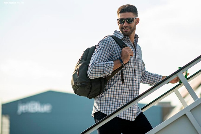 BOSTON, MA - JULY 15: J.D. Martinez #28 of the Boston Red Sox boards the plane during a team charter flight to Washington, DC for the 2018 Major League Baseball All-Star Game Sunday, July 15, 2018. (Photo by Billie Weiss/Boston Red Sox/Getty Images) *** Local Caption *** J.D. Martinez