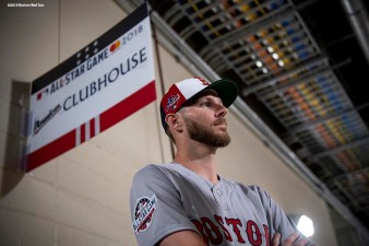 WASHINGTON, DC - JULY 16: Chris Sale #41 of the Boston Red Sox looks on during All-Star Workout Day at Nationals Park Monday, July 16, 2018 in Washington, DC. (Photo by Billie Weiss/Boston Red Sox/Getty Images) *** Local Caption *** Chris Sale