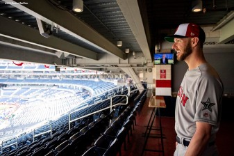 WASHINGTON, DC - JULY 16: Chris Sale #41 of the Boston Red Sox looks on out to the field during All-Star Workout Day at Nationals Park Monday, July 16, 2018 in Washington, DC. (Photo by Billie Weiss/Boston Red Sox/Getty Images) *** Local Caption *** Chris Sale