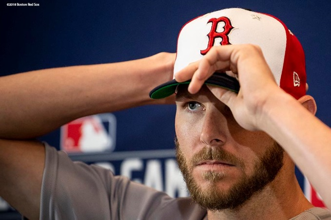 WASHINGTON, DC - JULY 16: Chris Sale #41 of the Boston Red Sox adjusts his cap during a press conference during All-Star Workout Day at Nationals Park Monday, July 16, 2018 in Washington, DC. (Photo by Billie Weiss/Boston Red Sox/Getty Images) *** Local Caption *** Chris Sale
